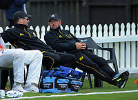 Wellington coach Glenn Pocknall with assistant Lance Dry during day two of the Plunket Shield cricket match between the Wellington Firebirds and Otago Volts at the Basin Reserve in Wellington, New Zealand on Tuesday, 22 October 2019. Photo: Dave Lintott / lintottphoto.co.nz