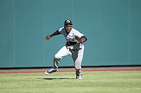 Glendale Desert Dogs left fielder Estevan Florial (13), of the New York Yankees organization, attempts to catch a fly ball during an Arizona Fall League game against the Salt River Rafters at Salt River Fields at Talking Stick on October 31, 2018 in Scottsdale, Arizona. Glendale defeated Salt River 12-6 in extra innings. (Zachary Lucy/Four Seam Images)