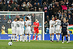 Real Madrid´s players celebrate a goal during 2015/16 Champions League soccer match between Real Madrid and Malmo at Santiago Bernabeu stadium in Madrid, Spain. December 08, 2014. (ALTERPHOTOS/Victor Blanco)