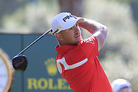 Matt Wallace (ENG) tees off the 1st tee during Thursday's Round 1 of the 2018 Turkish Airlines Open hosted by Regnum Carya Golf &amp; Spa Resort, Antalya, Turkey. 1st November 2018.<br /> Picture: Eoin Clarke | Golffile<br /> <br /> <br /> All photos usage must carry mandatory copyright credit (&copy; Golffile | Eoin Clarke)