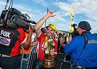 Sep 16, 2018; Mohnton, PA, USA; NHRA pro stock motorcycle rider Hector Arana Jr celebrates after winning the Dodge Nationals at Maple Grove Raceway. Mandatory Credit: Mark J. Rebilas-USA TODAY Sports