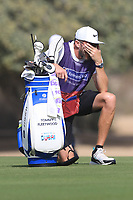 Ian Finnis caddy for Tommy Fleetwood (ENG) on the 3rd during Round 3 of the Omega Dubai Desert Classic, Emirates Golf Club, Dubai,  United Arab Emirates. 26/01/2019<br /> Picture: Golffile | Thos Caffrey<br /> <br /> <br /> All photo usage must carry mandatory copyright credit (© Golffile | Thos Caffrey)