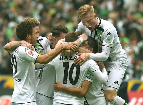 03.04.2016. Monchengladbach, Germany.  Bundesliga Football. Borussia Monchengladbach versus Hertha Berlin.  Goal celebration from Thorgan Hazard (10)with Fabian Johnson and Oscar Wendt.