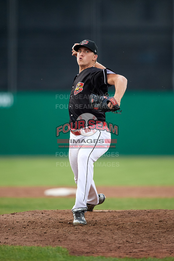 Batavia Muckdogs relief pitcher Tyler Mitzel (40) delivers a pitch during a game against the West Virginia Black Bears on July 2, 2018 at Dwyer Stadium in Batavia, New York.  West Virginia defeated Batavia 3-1.  (Mike Janes/Four Seam Images)