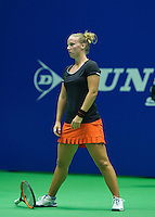 Rotterdam, Netherlands, December 19, 2015,  Topsport Centrum, Lotto NK Tennis, Richel Hogenkamp (NED) throws her racket<br /> Photo: Tennisimages/Henk Koster