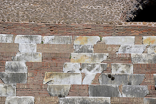 Detail of the restored seating area at the Colosseum, also known as the Flavian Amphitheatre, in Rome, Italy on Friday, May 25, 2012.  The original seats were made of marble.  This photo was taken from the restored floor of the structure..Credit: Ron Sachs / CNP