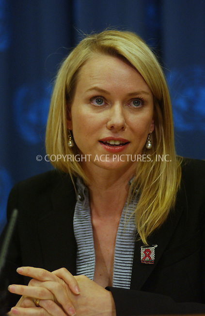 "WWW.ACEPIXS.COM . . . . . ....May 15 2006, New York City....Actress Naomi Watts attended a press conference at the United Nations to announce that she has been appointed as a special representative for a United Nations (UN) program on HIV/AID named ""4 for Everyone."" ........Please byline: KRISTIN CALLAHAN - ACEPIXS.COM.. . . . . . ..Ace Pictures, Inc:  ..(212) 243-8787 or (646) 679 0430..e-mail: picturedesk@acepixs.com..web: http://www.acepixs.com"