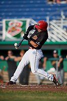 Batavia Muckdogs designated hitter Michael Donadio (7) hits a foul ball during a game against the West Virginia Black Bears on July 2, 2018 at Dwyer Stadium in Batavia, New York.  West Virginia defeated Batavia 3-1.  (Mike Janes/Four Seam Images)