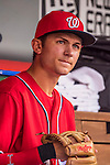 6 August 2016: Washington Nationals infielder Trea Turner looks out from the dugout prior to a game against the San Francisco Giants at Nationals Park in Washington, DC. The Giants defeated the Nationals 7-1 to even their series at one game apiece. Mandatory Credit: Ed Wolfstein Photo *** RAW (NEF) Image File Available ***