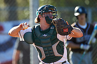Dartmouth Big Green catcher Kyle Holbrook (9) during a game against the St. Bonaventure Bonnies on February 25, 2017 at North Charlotte Regional Park in Port Charlotte, Florida.  St. Bonaventure defeated Dartmouth 8-7.  (Mike Janes/Four Seam Images)