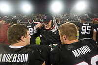 STANFORD, CA-NOVEMBER 30, 2012 - Coach Randy Hart addresses his team during the PAC-12 Championship at Stanford Stadium.