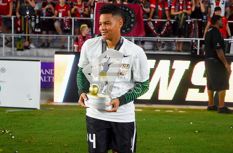 Orlando, FL - Saturday October 14, 2017: Adrianna Franch and the Portland Thorns FC celebrate their National Women's Soccer League (NWSL) Championship win by defeating North Carolina Courage 1-0 during the NWSL Championship match between the North Carolina Courage and the Portland Thorns FC at Orlando City Stadium.