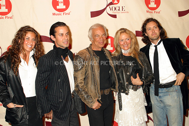Designer Ralph Lauren and his family arriving at 2002 VH1/Vogue Fashion Awards at Radio City Misic Hall. New York, October 15, 2002. Please byline: Alecsey Boldeskul/NY Photo Press.   ..*PAY-PER-USE*      ....NY Photo Press:  ..phone (646) 267-6913;   ..e-mail: info@nyphotopress.com