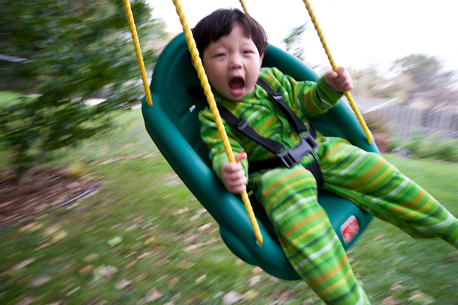 Sixteen-month-old Holden Miller enjoys swinging from a tree branch at the Miller/Stute home in Madison, Wis., during autumn on Oct. 20, 2008.