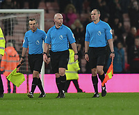 Match official Assistant referees Derek Eaton (left) and Adrian Holmes (right) and referee Simon Hopper (centre)<br /> <br /> Photographer David Horton/CameraSport<br /> <br /> The Premier League - Bournemouth v West Ham United - Saturday 19 January 2019 - Vitality Stadium - Bournemouth<br /> <br /> World Copyright © 2019 CameraSport. All rights reserved. 43 Linden Ave. Countesthorpe. Leicester. England. LE8 5PG - Tel: +44 (0) 116 277 4147 - admin@camerasport.com - www.camerasport.com