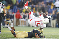 Annapolis, MD - October 8, 2016: Houston Cougars wide receiver Linell Bonner (15) gets tackled during game between Houston and Navy at  Navy-Marine Corps Memorial Stadium in Annapolis, MD.   (Photo by Elliott Brown/Media Images International)