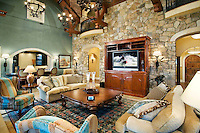 Family Room With Stone Wall
