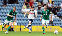 Preston North End's Tom Barkhuizen (Ctr) chases under pressure from Sheffield Wednesday's Tom Lees (left) and Julian Borner<br /> <br /> Photographer Rich Linley/CameraSport<br /> <br /> The EFL Championship - Preston North End v Sheffield Wednesday - Saturday August 24th 2019 - Deepdale Stadium - Preston<br /> <br /> World Copyright © 2019 CameraSport. All rights reserved. 43 Linden Ave. Countesthorpe. Leicester. England. LE8 5PG - Tel: +44 (0) 116 277 4147 - admin@camerasport.com - www.camerasport.com