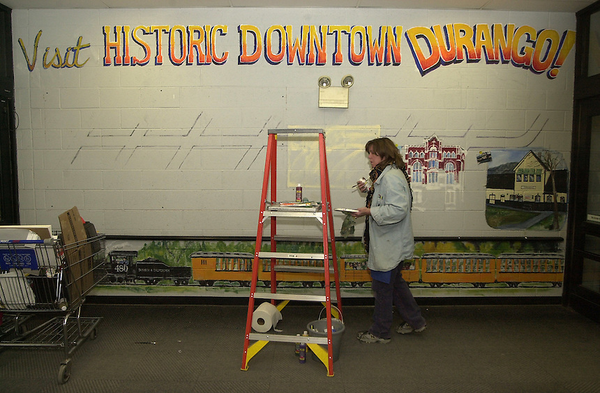 A mural supporting Durango, Colorado tourism is painted near the entrance of Wal Mart in Durango, Colorado in November, 2003.