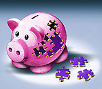 Illustrative image of jigsaw pieces fallen from piggy bank representing payment of EMI