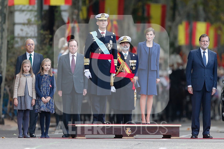 King Felipe VI of Spain, Princess Sofia of Spain, Princess Leonor of Spain, Queen Letizia of Spain and Mariano Rajoy during Spanish National Day military parade in Madrid, Spain. October 12, 2015. (ALTERPHOTOS/Pool)