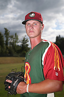Pearson McMahon (49) of the Boise Hawks poses for a photo before a game against the Everett AquaSox at Everett Memorial Stadium on July 20, 2017 in Everett, Washington. Everett defeated Boise, 13-11. (Larry Goren/Four Seam Images)