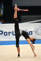 Anna Bessonova of Ukraine trains rope re-catch from balance element (with trunk in horizontal) before 2006 Portimao World Cup of Rhythmic Gymnastics on September 7, 2006 at Portimao, Portugal.  (Photo by Tom Theobald)