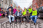 l-r  Cllr Sammy Locke, TD Michael Healy Rae, Christy Lynch and Junior Locke Back Cllr Grahame Spring, Helen Locke, Cllr John Brassil, Paddy Kevane and Darragh O'Callaghan  at the Office Chair Racing event in aid of St Vincent De Paul in the Mall Tralee on Saturday