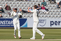 Haseeb Hameed of Lancashire CCC congratulates Tom Bailey of Lancashire CCC on the wicket of Nick Gubbins during Middlesex CCC vs Lancashire CCC, Specsavers County Championship Division 2 Cricket at Lord's Cricket Ground on 11th April 2019