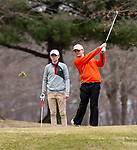 WATERTOWN,  CT-041119JS10-  Watertown's Dave Aquavia tees off as Torrington's Brayden Nietch looks on during their match Thursday at Crestbrook Park in Watertown. <br /> Jim Shannon Republican American
