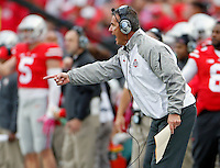 Ohio State Buckeyes head coach Urban Meyer yells at his team during the 1st quarter of their game against Rutgers Scarlet Knights at Ohio Stadium on October 18, 2014.   (Dispatch photo by Kyle Robertson)