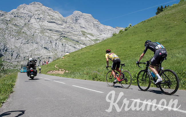 a from teammates isolated Richie Porte (AUS/BMC) is forced to set the pace up the Col de la Colombi&egrave;re in pursuit of other GC contenders up ahead and with Chris Froome (GBR/SKY) in tow<br /> <br /> 69th Crit&eacute;rium du Dauphin&eacute; 2017<br /> Stage 8: Albertville &gt; Plateau de Solaison (115km)