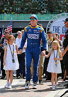 May 28, 2017; Indianapolis, IN, USA; IndyCar Series driver Scott Dixon (center) with daughters Tilly Dixon (right) and Poppy Dixon prior to the 101st Running of the Indianapolis 500 at Indianapolis Motor Speedway. Mandatory Credit: Mark J. Rebilas-USA TODAY Sports