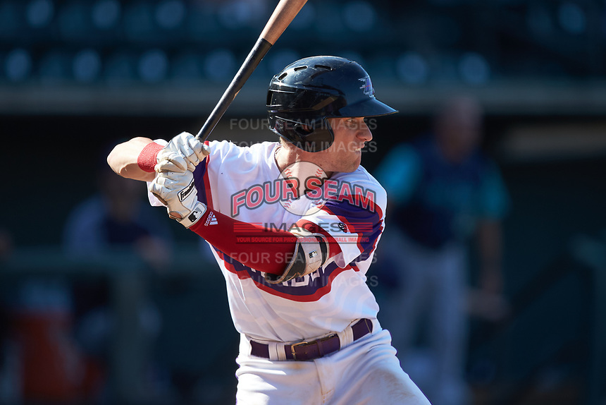 Zach Remillard (7) of the Winston-Salem Rayados at bat against the Lynchburg Hillcats at BB&T Ballpark on June 23, 2019 in Winston-Salem, North Carolina. The Hillcats defeated the Rayados 12-9 in 11 innings. (Brian Westerholt/Four Seam Images)