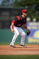 Batavia Muckdogs third baseman Denis Karas (25) during the first game of a doubleheader against the Mahoning Valley Scrappers on September 4, 2017 at Dwyer Stadium in Batavia, New York.  Mahoning Valley defeated Batavia 4-3.  (Mike Janes/Four Seam Images)