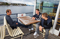 Swiss, Genève, September 14, 2015, Tennis,   Davis Cup, Swiss-Netherlands, Dutch team on a boat trip, ltr: Thiemo de Bakker, Tim van Rijthoven and Tallon Griekspoor<br />