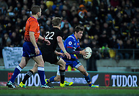 France's Baptiste Serin takes on NZ's Damien McKenzie during the Steinlager Series international rugby match between the New Zealand All Blacks and France at Westpac Stadium in Wellington, New Zealand on Saturday, 16 June 2018. Photo: Dave Lintott / lintottphoto.co.nz