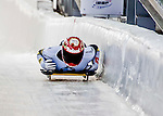8 January 2016: Jacqueline Loelling, competing for Germany, crosses the finish line on her first run of the BMW IBSF World Cup Skeleton race at the Olympic Sports Track in Lake Placid, New York, USA. Mandatory Credit: Ed Wolfstein Photo *** RAW (NEF) Image File Available ***
