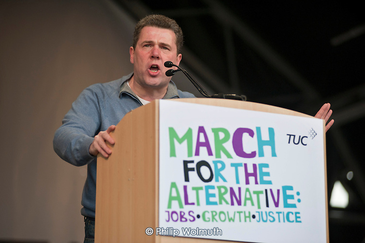 Mark Serwotka, PCS General Secretary.  TUC March for the Alternative, rally against public spending cuts, Hyde Park, London.