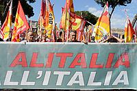 ROMA, 27 MAGGIO 2017<br /> Manifestazione per Salvare Alitalia e salvare l'Italia, promossa dai sindacati di base USB ,CUB, Cobas, contro licenziamenti, precariet&agrave; e le politiche sul lavoro del Governo