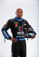 Feb 6, 2020; Pomona, CA, USA; NHRA top fuel driver Antron Brown poses for a portrait during NHRA Media Day at the Pomona Fairplex. Mandatory Credit: Mark J. Rebilas-USA TODAY Sports