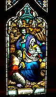 Crèche stained glass at Reformation Lutheran Church. St Paul Minnesota USA