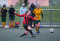 Action from the 2018 Women's Capital Premier football match between Brooklyn Northern United (black and red) and Victoria University of Wellington (yellow and green) at Wakefield Park in Wellington, New Zealand on Sunday, 1 July 2018. Photo: Dave Lintott / lintottphoto.co.nz