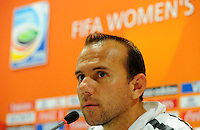 Coach Kleiton Lima of team Brazil at a press conference during the FIFA Women's World Cup at the FIFA Stadium in Dresden, Germany on July 9th, 2011.