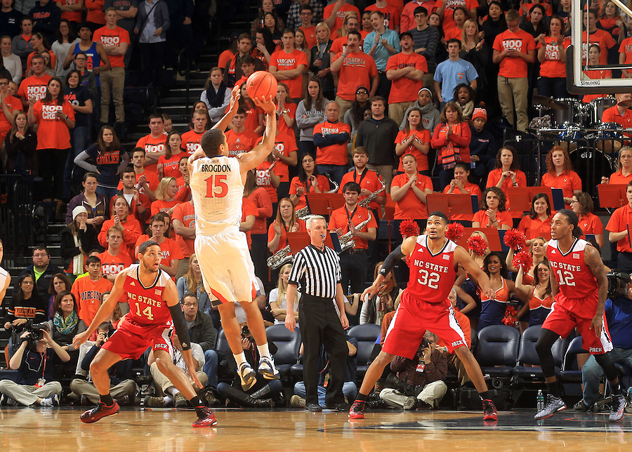 Virginia guard Malcolm Brogdon (15) during the game Jan. 7, 2015, in Charlottesville, Va. Virginia defeated NC State  61-51.