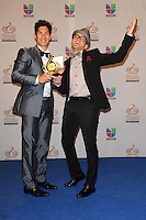 Chino y Nacho in the pressroom at Univision's Premio Lo Nuestro a La Musica Latina at American Airlines Arena on February 16, 2012 in Miami, Florida. © mpi10/MediaPunch Inc