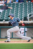 Jacksonville Jumbo Shrimp first baseman Taylor Ard (32) follows through on a swing during a game against the Birmingham Barons on April 24, 2017 at Regions Field in Birmingham, Alabama.  Jacksonville defeated Birmingham 4-1.  (Mike Janes/Four Seam Images)