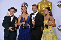 Mark Rylance, Brie Larson, Leonardo DiCaprio &amp; Alicia Vikander at the 88th Academy Awards at the Dolby Theatre, Hollywood.<br /> February 28, 2016  Los Angeles, CA<br /> Picture: Paul Smith / Featureflash