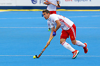 England's David Condon in action during the Hockey World League Semi-Final match between England and Netherlands at the Olympic Park, London, England on 24 June 2017. Photo by Steve McCarthy.