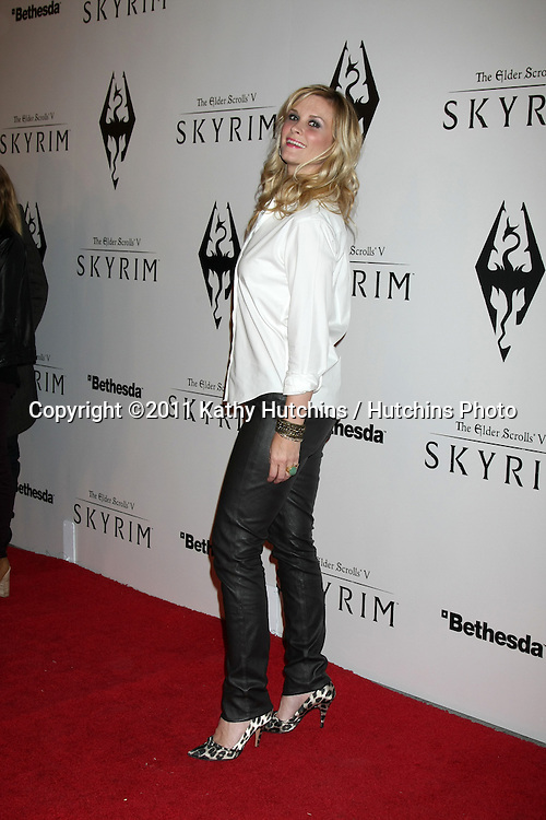 LOS ANGELES - NOV 8:  Bonnie Sommerville arrives at the SKYRIM Launch Event at Belasco Theater on November 8, 2011 in Los Angeles, CA
